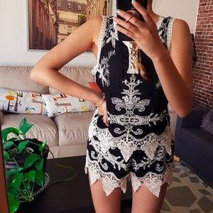 Black embroidery top and shorts set